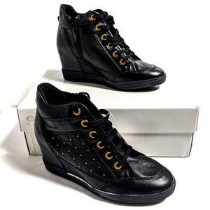 Geox Carum Wedge Sneaker Black Oxford Studded 38